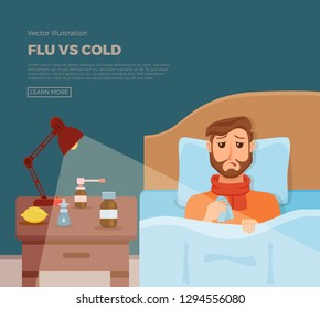 Sick men in bed with the symptoms of  cold, flu. Cartoon vector character on pillow with blanket and scarf, medicine, lemon, thermometer. Illustration of unhealthy guy with a high fever, headache.