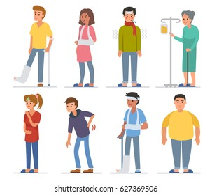 Sick people characters set. Men and women with different diseases. Flat style vector illustration isolated on white background.