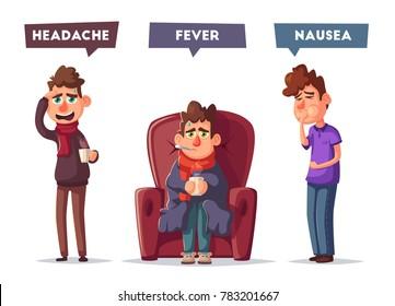 Sick people. Unhappy character. Vector cartoon illustration