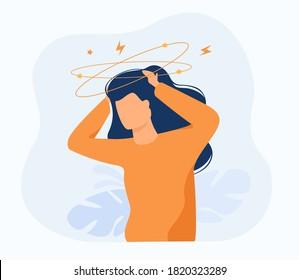 Sick person suffering from vertigo, feeling confused, dizzy and head ache. Flat vector illustration for stress, sickness symptoms, migraine, hangover concept