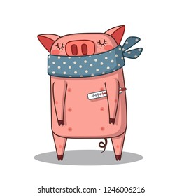 Sick pig in a scarf and with a thermometer.
