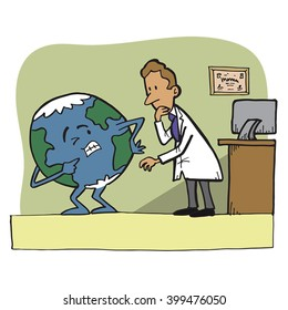 Sick planet Earth in pain goes to a doctor.