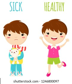 Sick sad little boy in pajamas with toy and cheerful healthy jumping boy. Opposite wordcard for illustration of word sick and healthy. Set of vector cartoon characters. EPS8