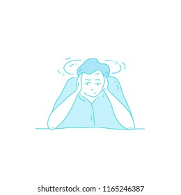 Sick stressed dizzy person touches her forehead and is dizzy. Vector hand drawn illustration. Man suffering from vertigo, dizziness, headache pain portrait