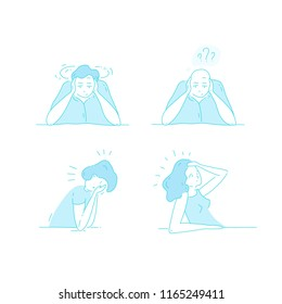 Sick stressed dizzy person touches her forehead and is dizzy. Vector hand drawn illustrations collection. Man suffering from vertigo, dizziness, headache pain portrait