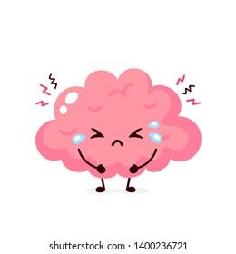 Sick suffering sad brain character. Vector flat cartoon illustration icon design. Isolated on white background. Suffering crying brain character concept.