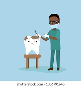 Sick tooth and african american male dantist doctor,medical equipment in hands,health care concept,flat vector illustration