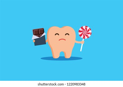 A sick tooth, caries caries, a sad tooth that eats chocolate and candy