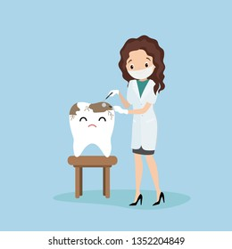Sick tooth and female dantist doctor,medical equipment in hands,health care concept,flat vector illustration