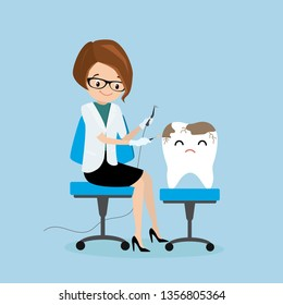 Sick tooth and female dantist doctor,medical equipment in hands,health care concept,flat vector illustration.