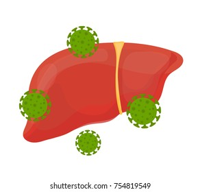 Sick unhealthy sad liver with hepatitis A. Vector modern style cartoon character illustration icon design. Isolated on white background. Sick liver with hepatitis a virus microbe  concept