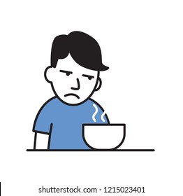 Sick young man with no appetite in front of the meal. Colorful flat vector illustration. Isolated on white background.