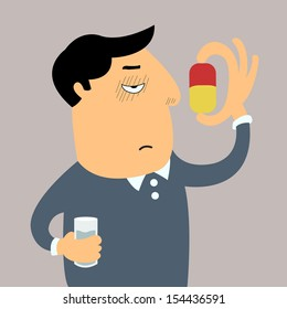 Sicked man feel bored and disgusted to swallow big pill in his hands.