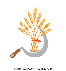 Sickle with Big bunch of wheat, barley or rye ears with whole grain and dry leaves, golden wheat, rye or barley crop with red ribbon harvest symbol or icon sign flat style design vector illustration.