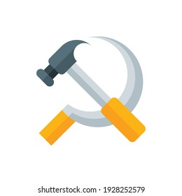 Sickle, Hammer, Equipment Flat Icon Logo Illustration Vector Isolated. Labour Day, May Day, Industry, And Construction Icon-Set. Suitable for Web Design, Logo, App, and Upscale Your Business.