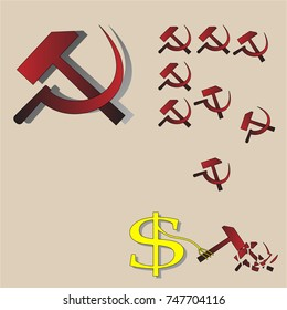 Sickle and hammer are a sign of socialism. A conditional image as capitalism in the form of a dollar sign breaks socialism.