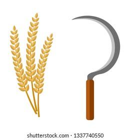 Sickle and rice grain, harvesting tool Flat cartoon vector illustration.