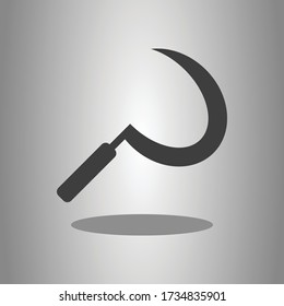 Sickle simple icon with shadow. Flat desing