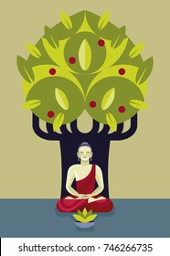 Siddharta Buddha, founder of Buddhism,  practicing zen meditation in front of the Bodhi tree.