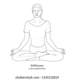 Siddhasana or Accomplished Pose with Chin Mudra. Yoga Practice. Vector.