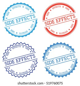 Side effects badge isolated on white background. Flat style round label with text. Circular emblem vector illustration.