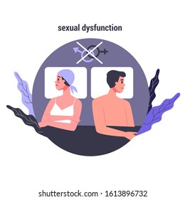 Side effects of chemotherapy. Patient suffer from cancer disease. Female character with sexual dysfunction. Vector illustration in cartoon style