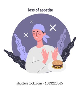 Side effects of chemotherapy set. Patient suffer from cancer disease. Female lost her appetite. Vector illustration in cartoon style