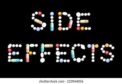 SIDE EFFECTS composed with different pills, tablets and capsules. Isolated vector illustration on black background.