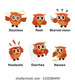 Side Effects for education. verb word set vector background for school.(Dizziness Rash Blurred vision Headache Diarrhea Nausea) illustration.