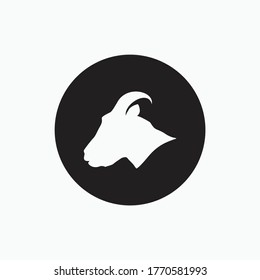 side face goat isolated on black circle - goat, sheep, lamb logo emblem or button icon silhouette - mammal, animal vector icon