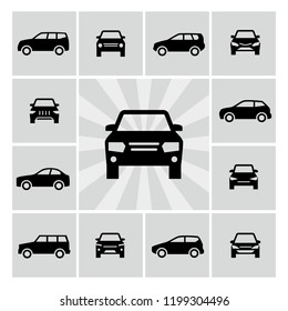 Side and front view car silhouettes vector icons of set