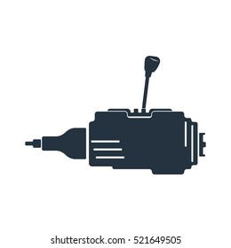 side gear box, gear shift, transmission isolated icon on white background, auto service, repair, car detail