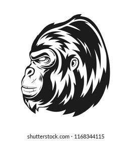 side gorilla black and white style vector illustration
