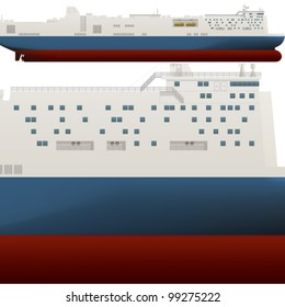 A side high detailed view of a large Ro-Ro ship saved as an EPS version 10.