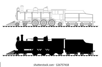 A side illustration of steam locomotive