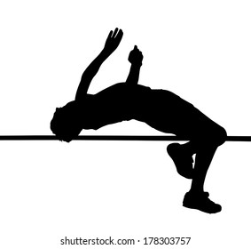 Side Profile of Boy High Jumper Leaping Over Bar Silhouette