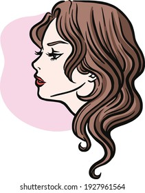 Side profile of a young attractive woman. Vector illustration of a beautiful lady in color.