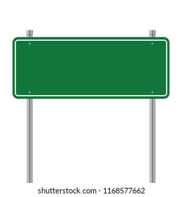 Side road blank green sign. 3d illustration isolated on white background