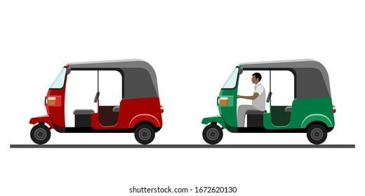 Side view of auto rickshaw vehicle with and without driver isolated on white background. Tuk-tuk icon. Vector illustration