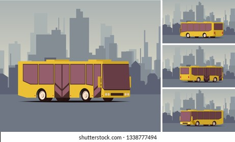 Side View Autobus or Public Transport with City Landscape on the Background. High Detailed Vector Illustration. Public Transport Mockup. IsoFlat Styled Vector Illustration.