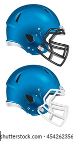 Side view of blue football helmet vector isolated on white