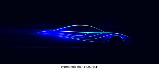 Side view blue neon glowing high speed car silhouette. Abstract styled vector illustration.
