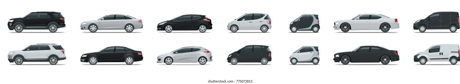 Side view of business vehicle template vector isolated on white. Urban, city cars and vehicles transport vector flat icons set.
