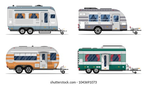 Side view camping trailers isolated on white background. Car RV trailer caravan, motorhome, mobile home for country or nature vacation and activity. Recreational vehicles vans vector illustration.