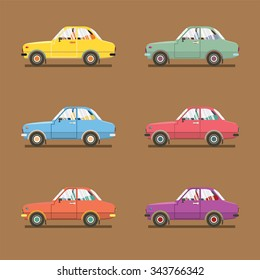 Side View Of Colorful Sedan Cars Vector Illustration