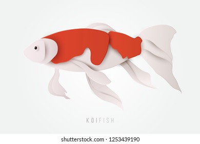 Side view of exotic koi fish in paper cut craft style. Fresh water animals vector illustration. Ocean animals isolated on white background