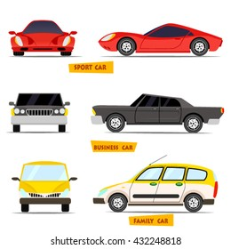Side view and front view car collection in detailed cartoon flat style.