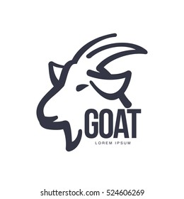 Side view goat head logo template for meat and dairy products, cartoon vector illustration on white background.