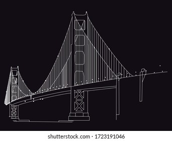 Side view of the golden gate bridge and lights