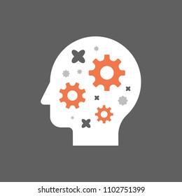 Side view head full of cogwheels, brain work gear, cognitive skill, technology people, artificial intelligence, creative workshop, potential development, brainstorm concept, vector illustration